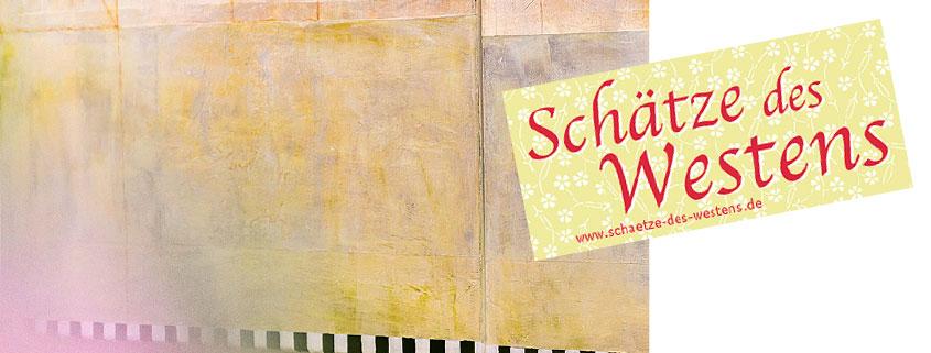 """Kunstwerk von Crista Gipser und Logo """"Schätze des Westens"""""""