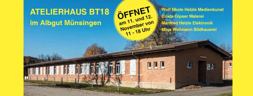 Die Einladung zur Ausstellung und Eröffnung des neuen Atelierhauses im Albgut Muensingen
